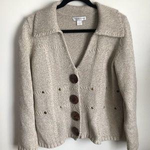 Christopher & Banks tan/oatmeal sweater cardigan M